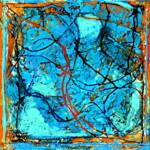 BLUE #6 Encaustic & Oil on Canvas 12in x 15in