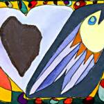 Fish plus heart – Watercolor Collage – 11in x 15in