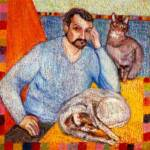 Francesco with two cats – Oil & Acrylic on Belgian Linen – 45in x 52in