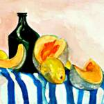 Melon and lemons – Watercolor – 13in x 18in
