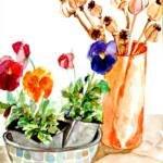 Still life with pansies – Watercolor – 13in x 17in